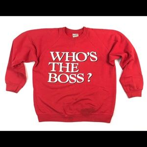 VINTAGE WHOS THE BOSS SWEATSHIRT LARGE L CREWNECK